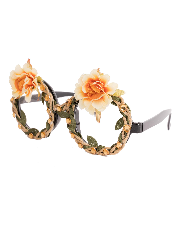Kostuemzubehor Brille mit Blumen und Steinen orange