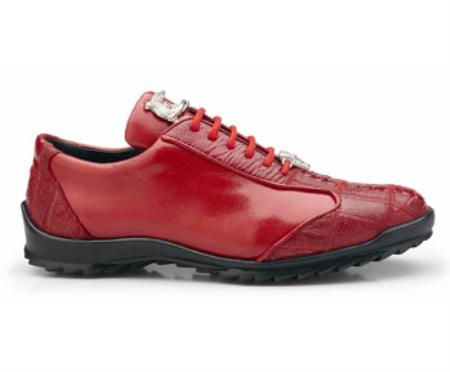 Belvedere Exotic Skin Brand Genuine Red Ostrich Leather Lining Shoe