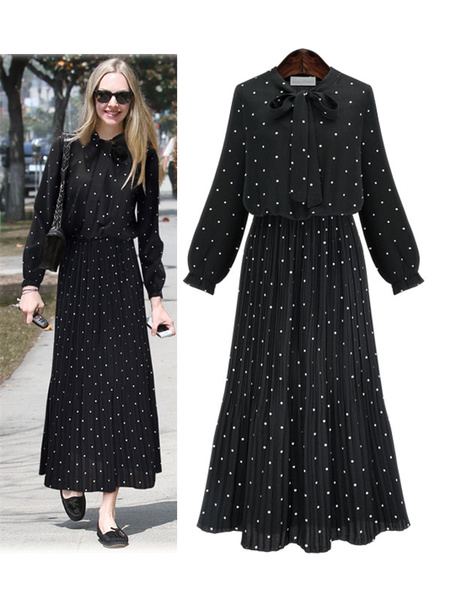 Milanoo Women\'s Maxi Dresses Long Sleeves Black Polka Dot Stand Collar Lace Up Maxi Chiffon Floor Length Dress