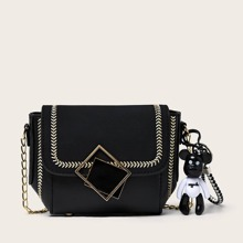 Geometric Buckle Flap Chain Crossbody Bag