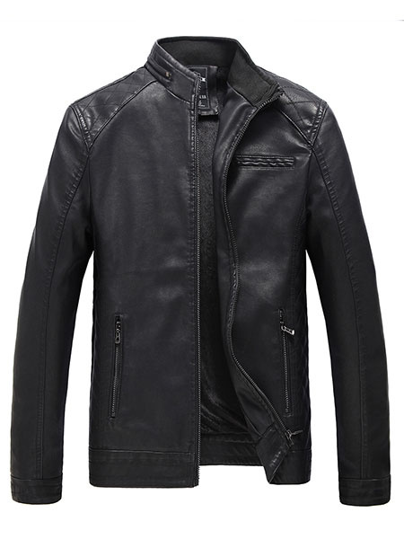 Milanoo Men's Black Jacket PU Leather Fleece Lined Slim Fit Causal Jacket