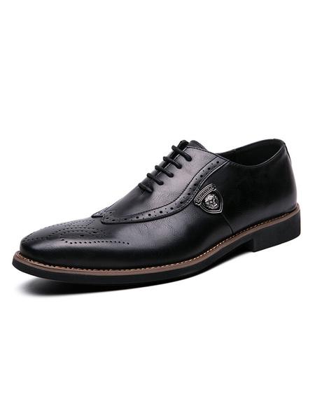 Milanoo Zapatos De Vestir Para Hombre Correa De Punta Redonda Bloque De Color Ajustable Zapatos Oxford De Cuero De PU Marron