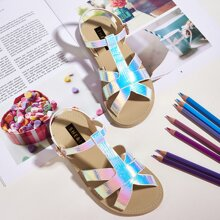 Toddler Girls Croc Embossed Holographic T Strap Sandals