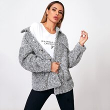 Collared Buttoned Front Flap Detail Teddy Coat
