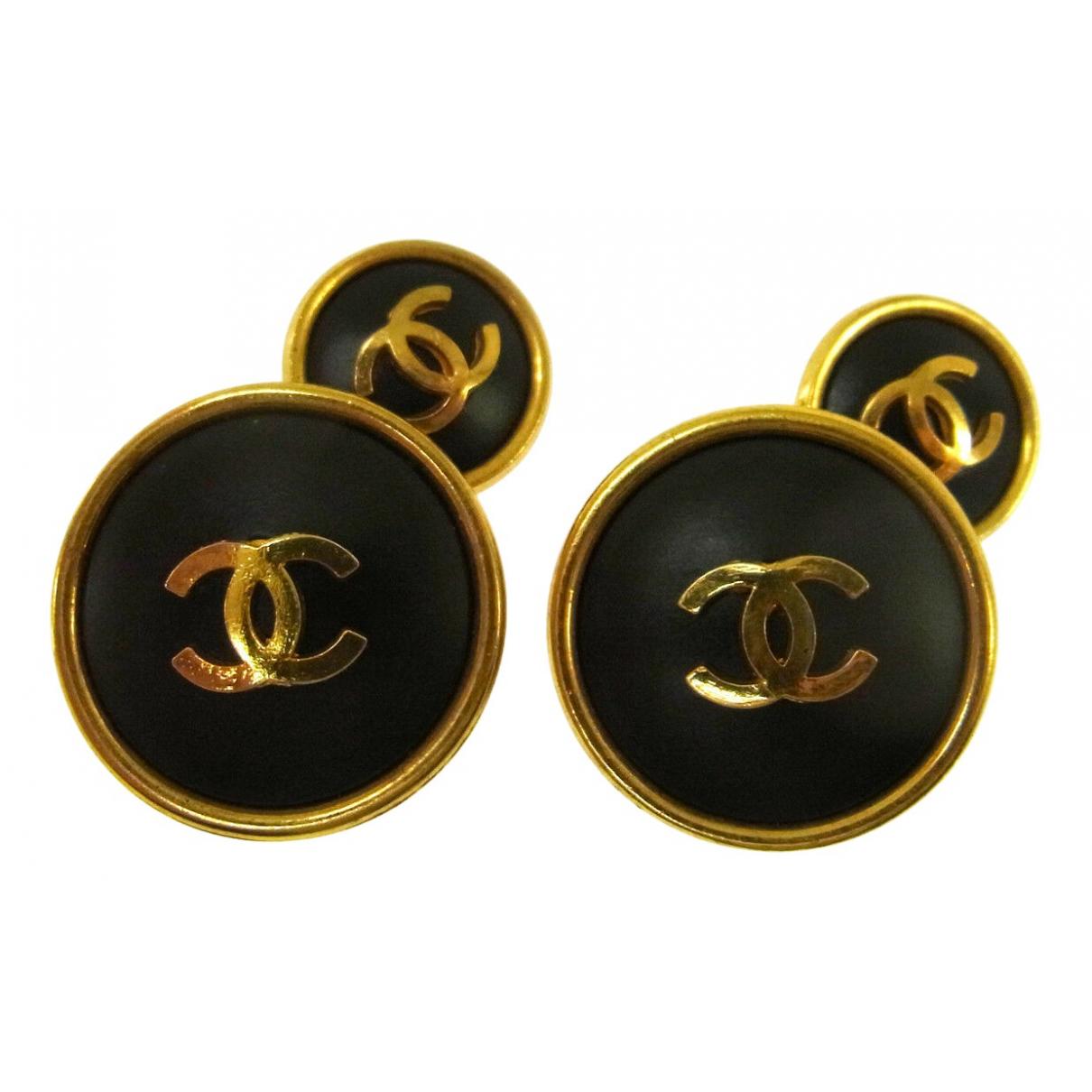 Chanel - Boutons de manchette   pour homme en plaque or - noir