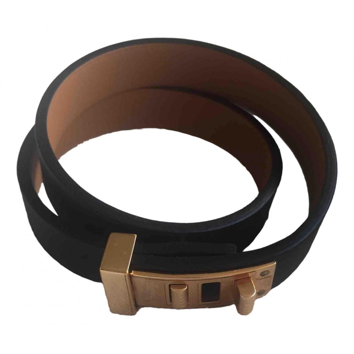 Hermes - Bracelet Mini Dog pour femme en cuir - noir