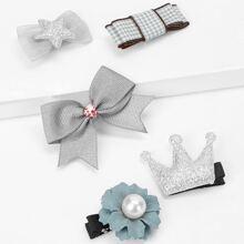 Girls Flower & Bow Hair Clip 5pcs