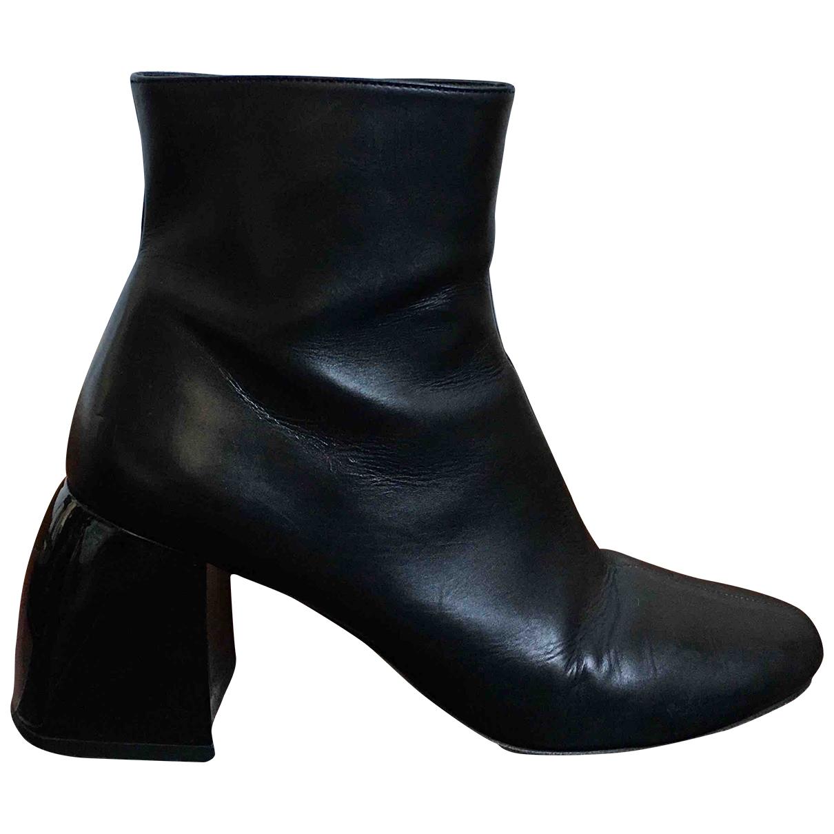 Sport Max - Boots   pour femme en cuir - noir