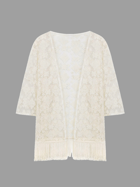 Yoins White Lace Embroiderd Kimono With Tassels