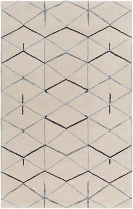 Naya NY-5267 5' x 8' Rectangle Modern Rug in Medium Gray  Black
