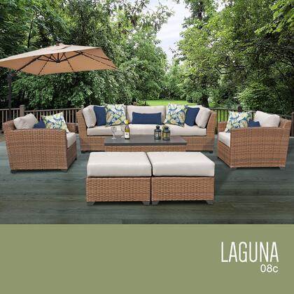 LAGUNA-08c-BEIGE Laguna 8 Piece Outdoor Wicker Patio Furniture Set 08c with 2 Covers: Wheat and