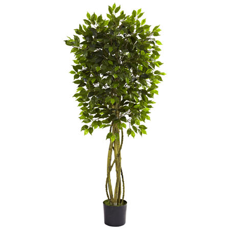 Nearly Natural Ficus UV-Resistant Tree, One Size , Green