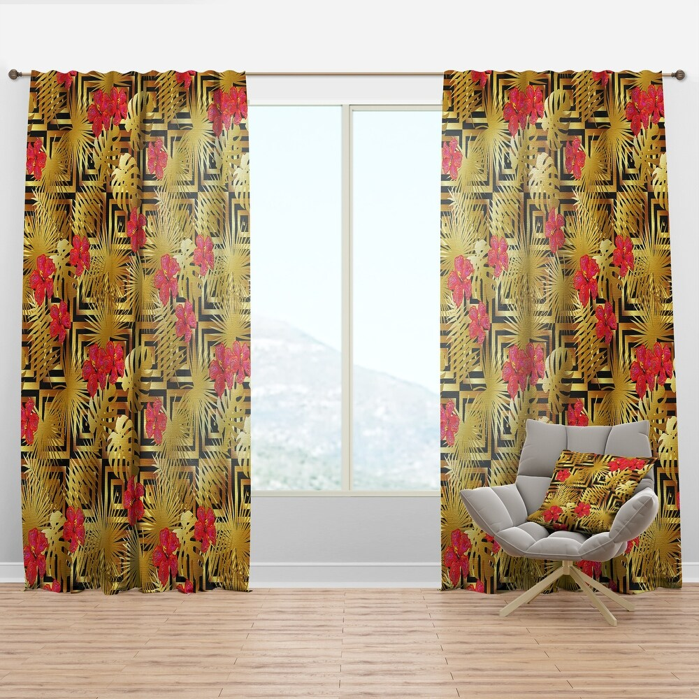 Designart 'Tropical Gold Luxury Pattern I' Mid-Century Modern Curtain Panel (50 in. wide x 90 in. high - 1 Panel)