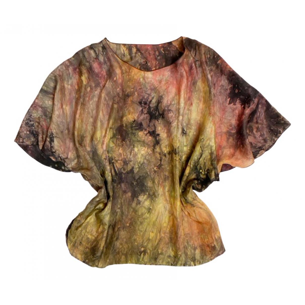 Non Signé / Unsigned Hippie Chic Multicolour Silk  top for Women L International