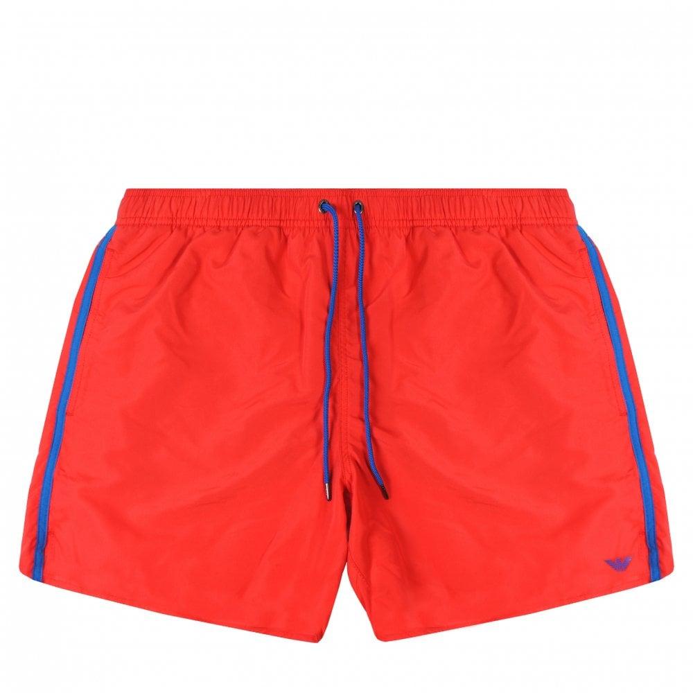 Emporio Armani Logo Swim Shorts Colour: RED, Size: LARGE