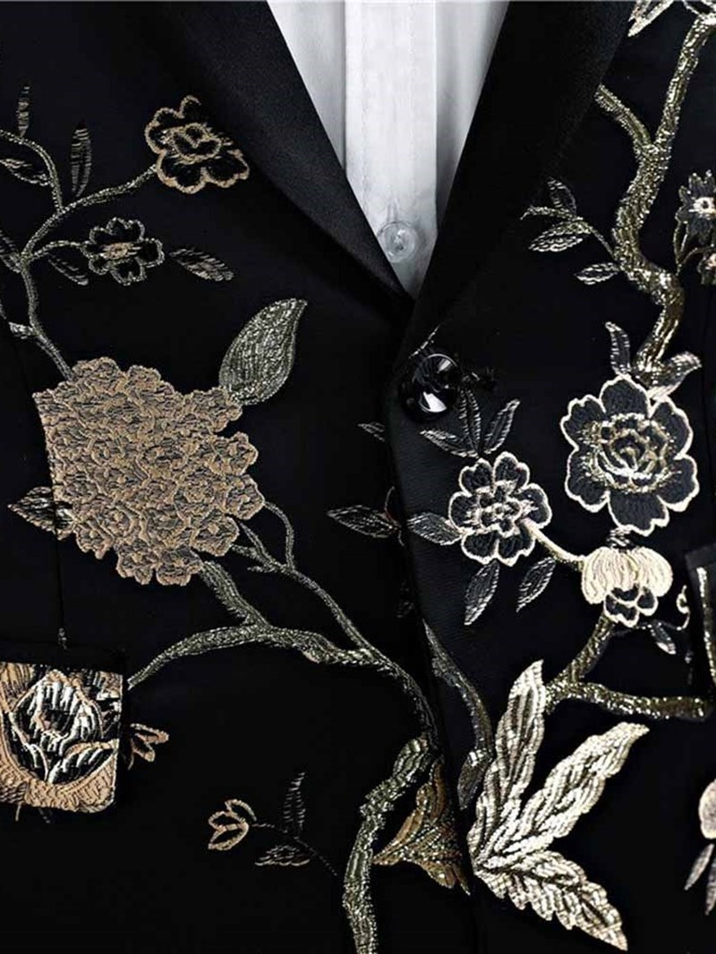 Ericdress Black Floral Print Mens Casual Ball Wedding Suits