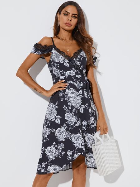 YOINS Black Random Floral Print Lace Trim Wrap Cold shoulder Dress