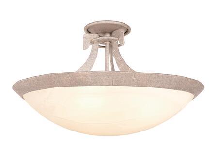 Copenhagen 4346PS/ART 3-Light Semi Flush Mount Ceiling Light in Pearl Silver with Art Nouveau Natural Bowl Glass