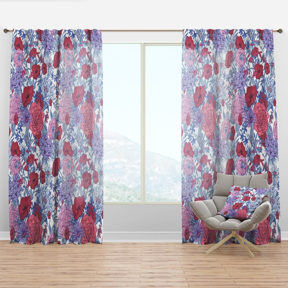 Designart 'Gentle Retro Summer Floral Pattern' Eclectic Curtain Panel (50 in. wide x 108 in. high - 1 Panel)