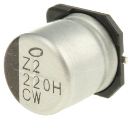 Nichicon 220μF Electrolytic Capacitor 50V dc, Surface Mount - UCW1H221MNL1GS (10)