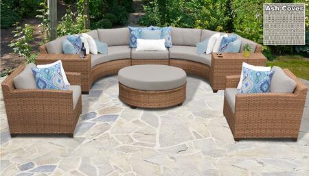 Laguna Collection LAGUNA-08e-ASH 8-Piece Patio Set 08e with 1 Armless Chair   2 Cup Table   1 Round Coffee Table   2 Curved Armless Chair   2 Club