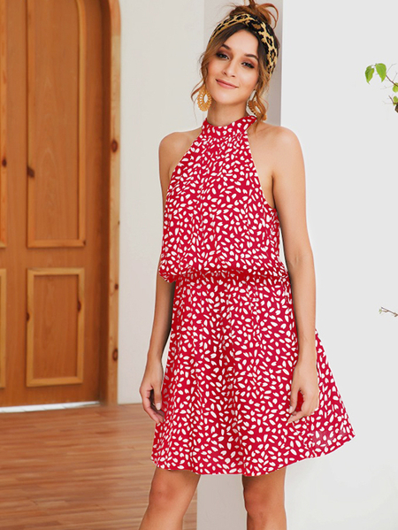 Yoins Red Random Heart Printed Halter Knotted Sleeveless Dress