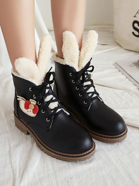 Milanoo Sweet Lolita Boots PU Cuero Conejo Punta redonda Zapatos negros Lolita