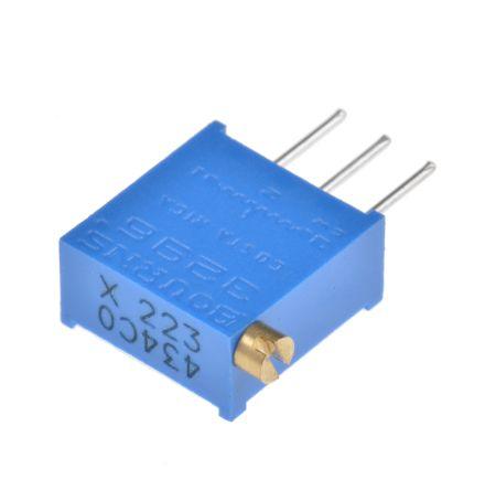 Bourns 22kΩ, Through Hole Trimmer Potentiometer 0.5W Side Adjust , 3296