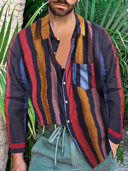 Yoins INCERUN Men Vintage Collar Striped Shirt Summer Baggy Party Holiday Hawaiian Fancy Shirt