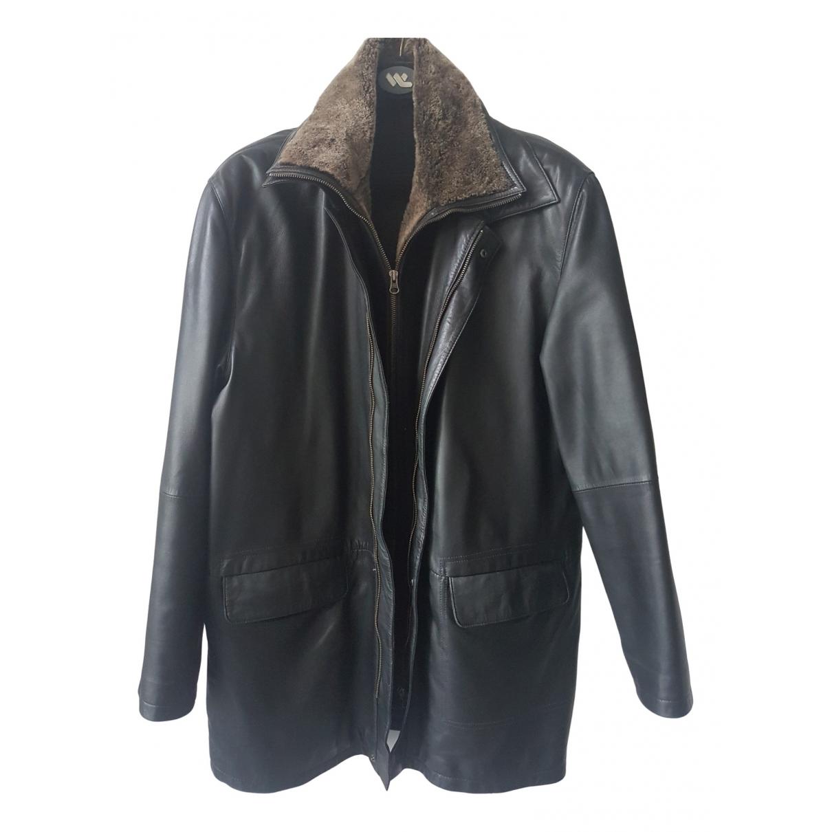 Carven - Manteau   pour homme en cuir - noir