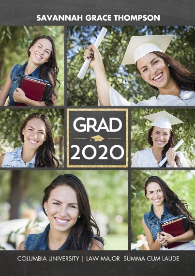2020 Graduation Announcements 5x7 Cards, Standard Cardstock 85lb, Card & Stationery -2020 Grad Gold Square by Tumbalina