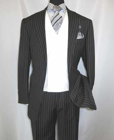 Mens Black 2 Button Side Vent Pinstripe Double Breasted Collar  Suit