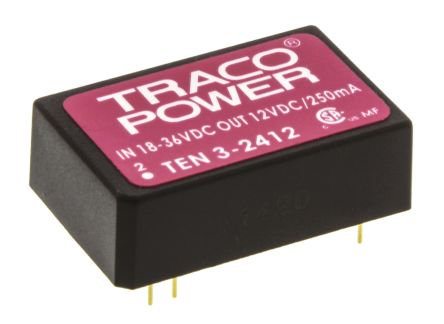 TRACOPOWER TEN 3 3W Isolated DC-DC Converter Through Hole, Voltage in 18 → 36 V dc, Voltage out 12V dc