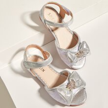 Toddler Girls Bow Decor Floral Lace Sandals