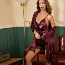 Satin Contrast Lace Cami Night Romper & Belted Robe