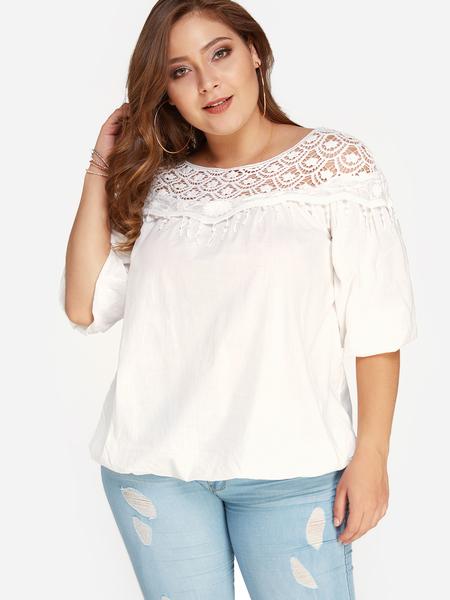 Yoins Plus Size White Crochet Lace Trim Hollow Out Blouse