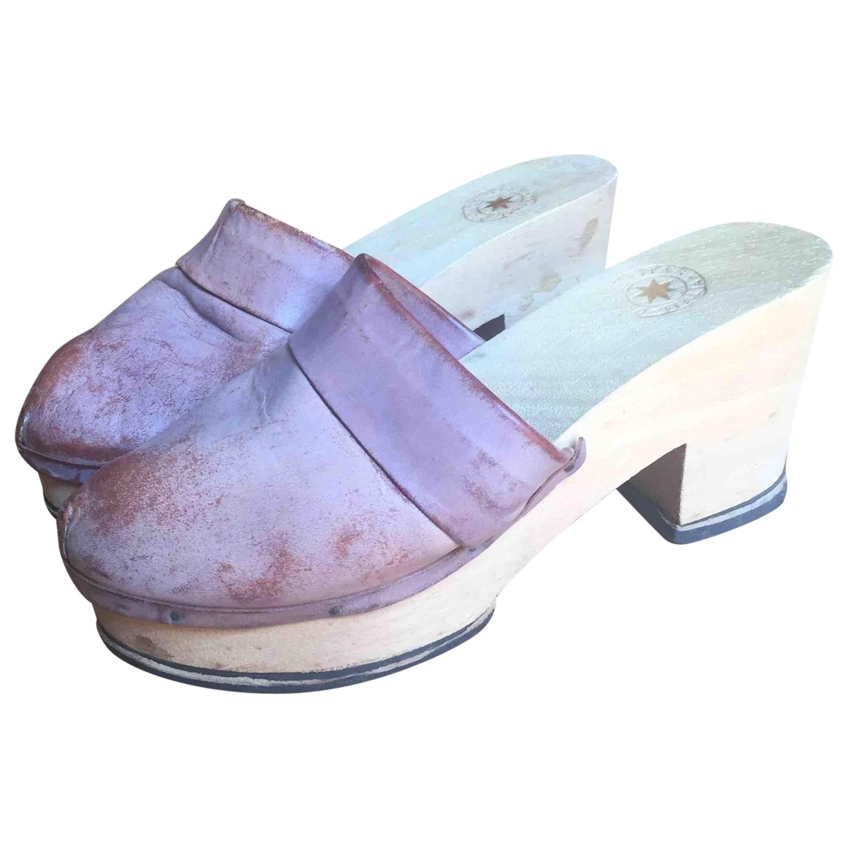 Non Signé / Unsigned Hippie Chic Pink Leather Mules & Clogs for Women 37 IT