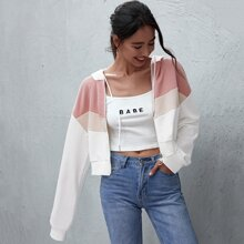Colorblock Zip Up Hooded Sweatshirt