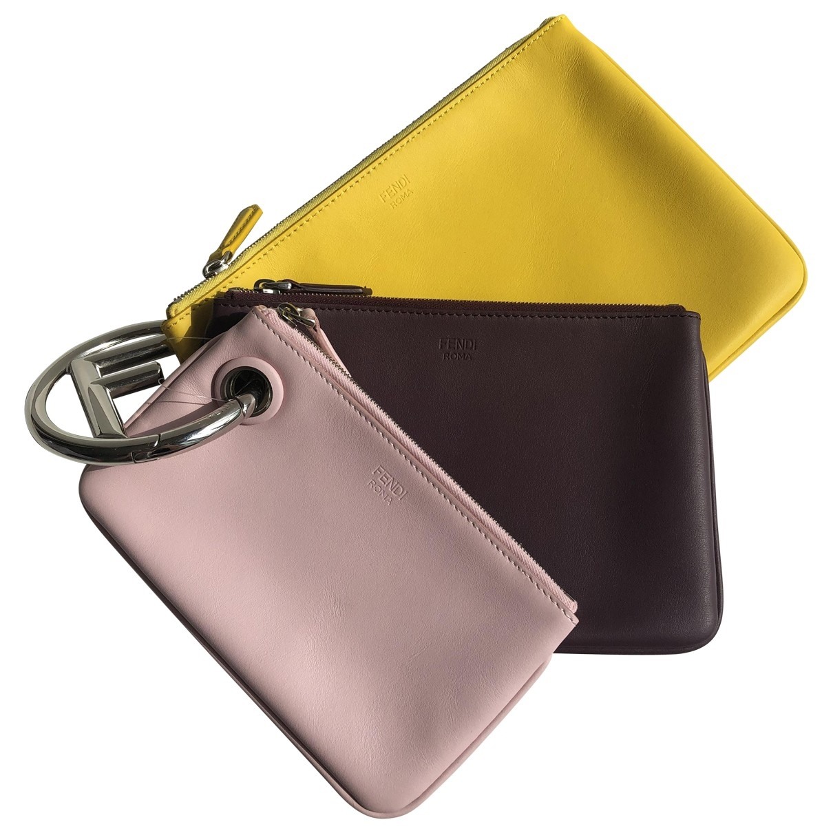 Fendi Triplette Yellow Leather Clutch bag for Women \N