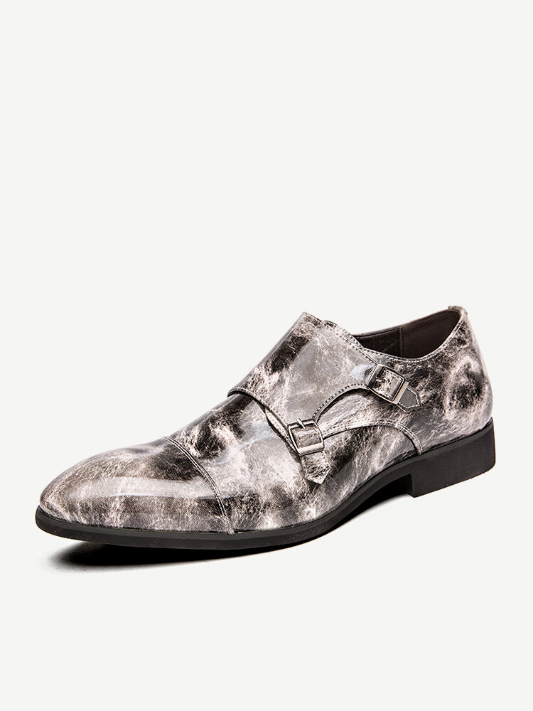 Men British Style Printed Slip On Business Formal Casual Double Monk Shoes
