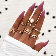 8 Stuecke Ring mit hohlem Design