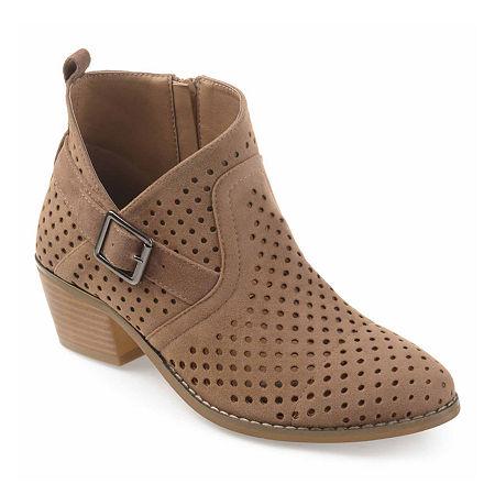 Journee Collection Womens Jules Booties Block Heel, 8 Medium, Brown