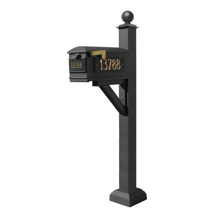 WPD-SC2-S4-LM-3P-BLK Westhaven System with Lewiston Mailbox  (3 Cast Plates) Square Collar & Large Ball Finial in
