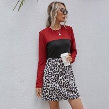 Leopard Print Color Block Dress