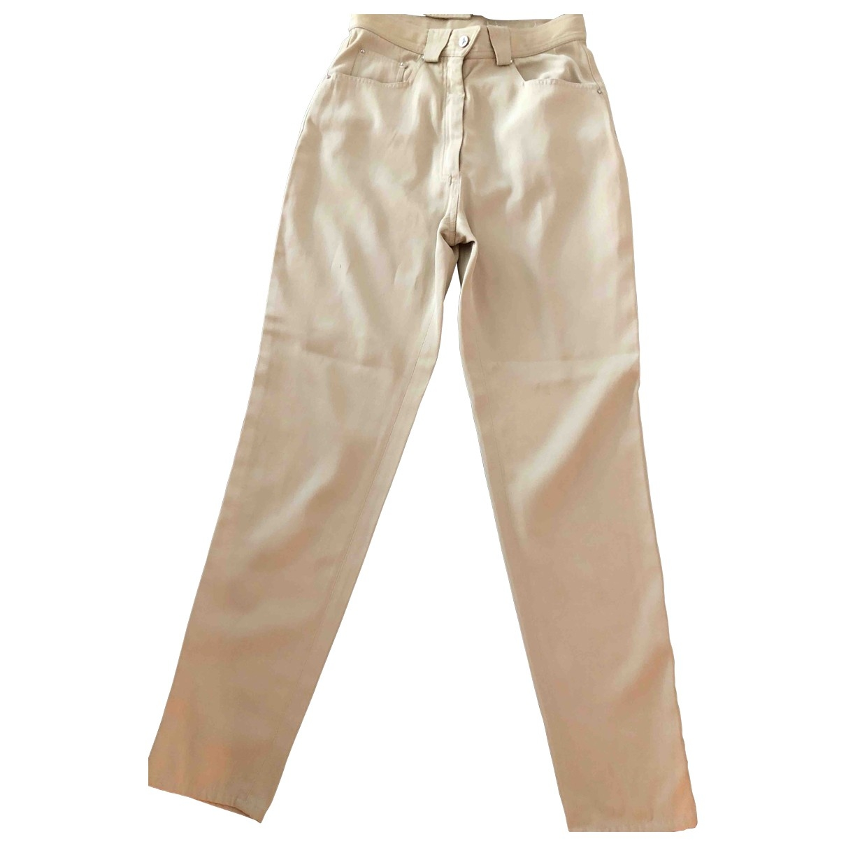 Thierry Mugler \N Beige Spandex Trousers for Women 36 FR