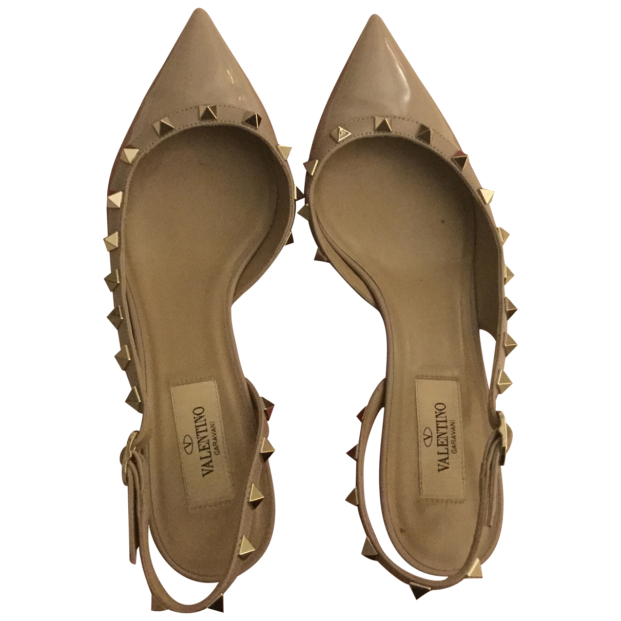 Valentino Garavani Rockstud Beige Patent leather Heels for Women 37 IT