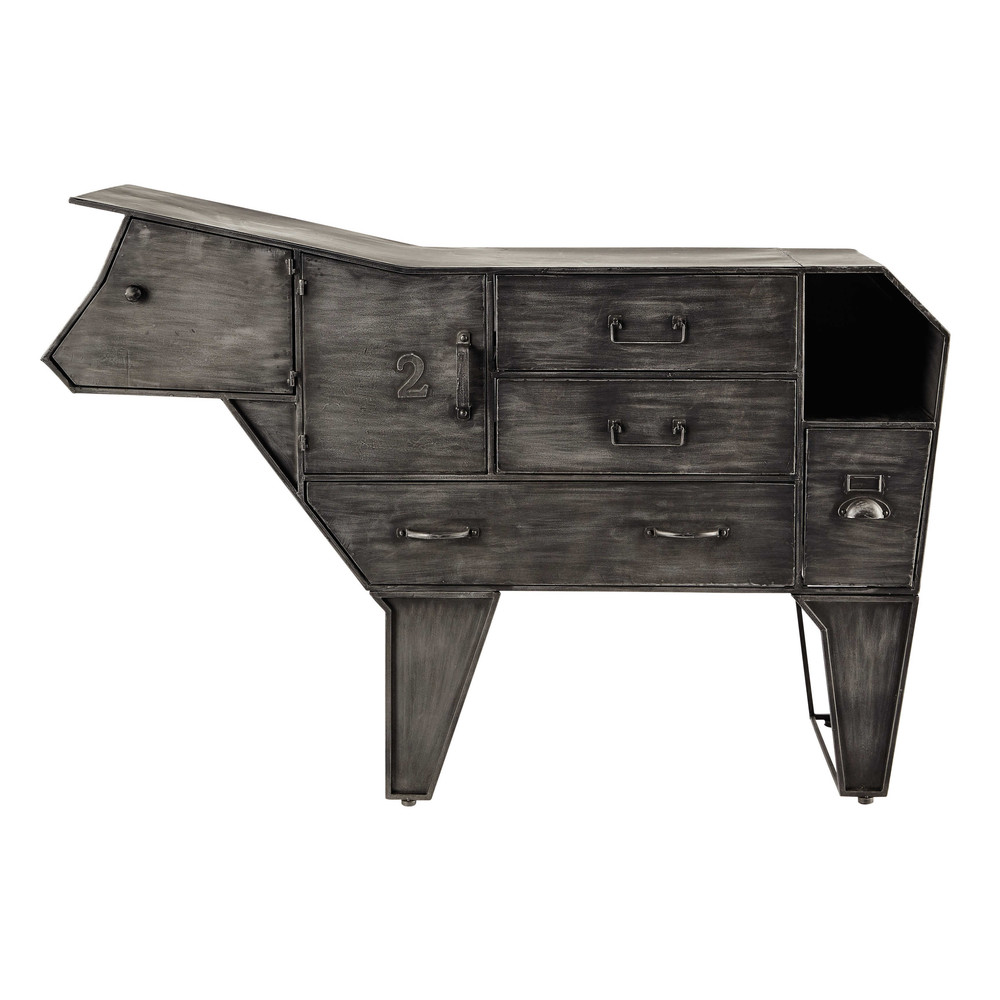 Kommode Kuh aus Metall, B 144cm Marguerite