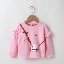 Toddler Girls Cartoon Graphic Ruffle Trim Sweatshirt