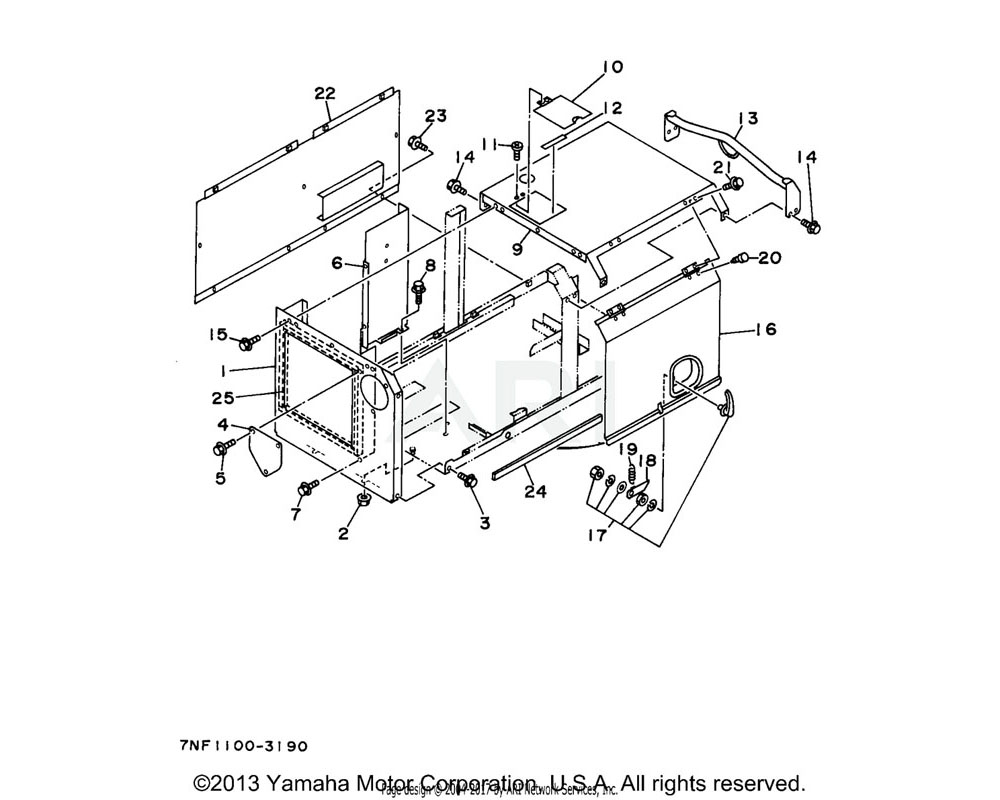 Yamaha OEM YFG-31813-05-40 ROOF COMP, ENGINE. EDL6500