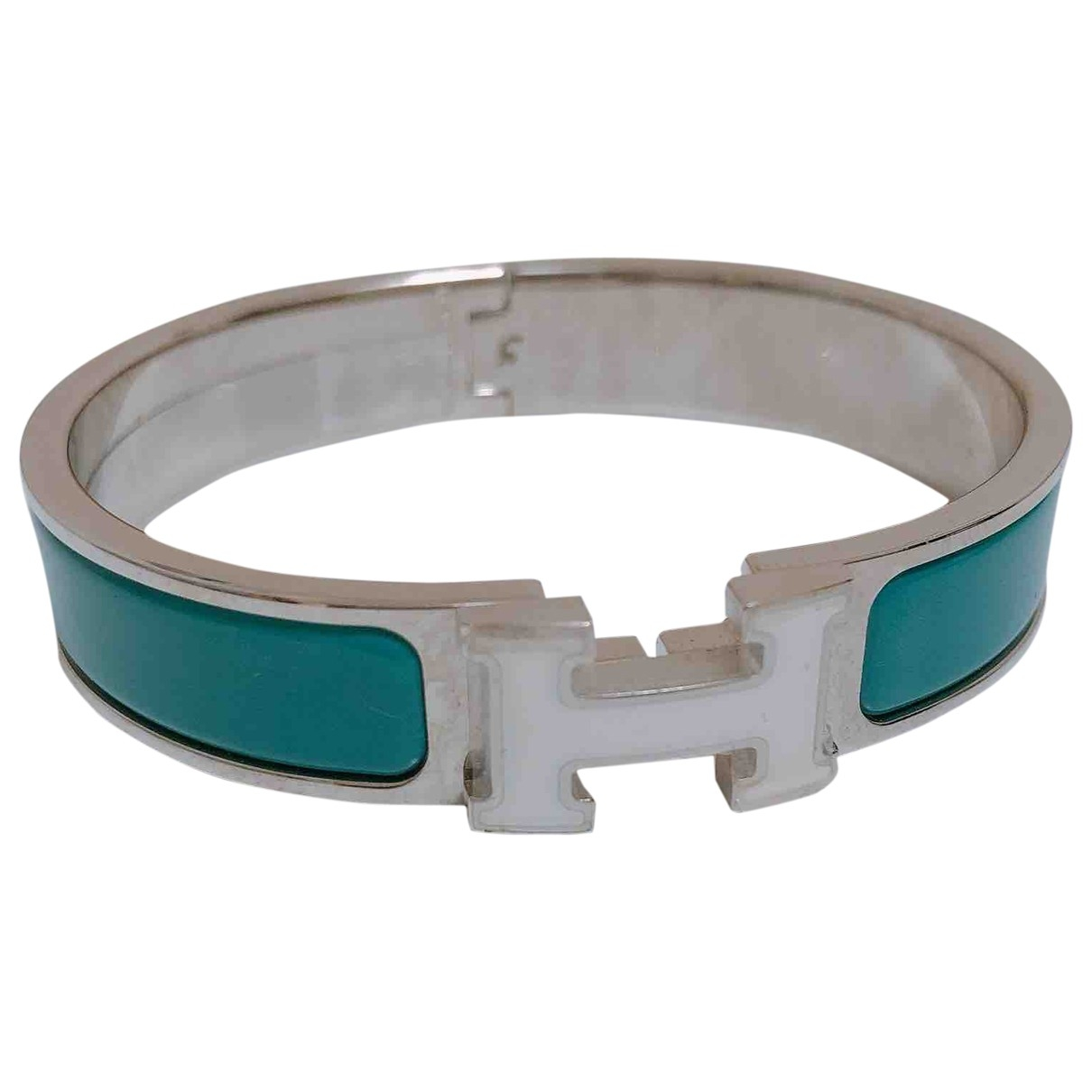 Hermes Clic H Armband in  Tuerkis Metall